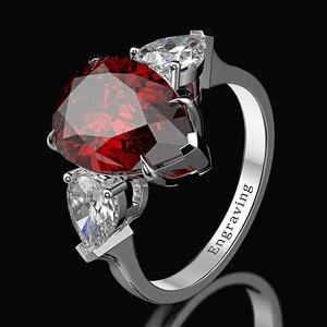 Image 3 - Wong Rain 100% 925 Sterling Silver Pear Created Moissanite Aquamarine Gemstone Wedding Engagement Ring Fine Jewelry Wholesale