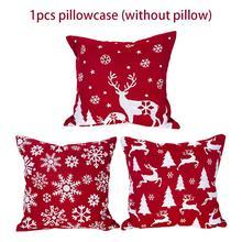 Christmas Printed Pillow Case Snowflake Deer Pillow Cushion Cover Sofa Sleeper Cushion Polyester Linen Pillow Case