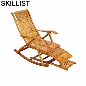 Cama Plegable Dobravel de bambú mecedora, Sillones reclinables, silla Reclinable Para Sala,...
