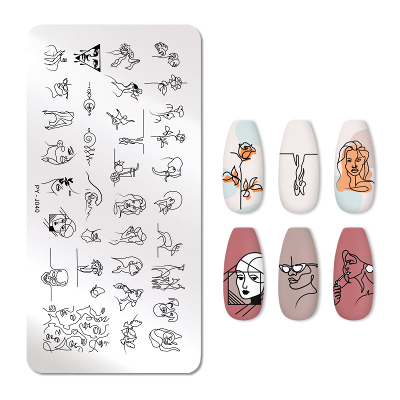 PICT YOU Nail Stamping Plates Line Pictures Nail Art Image Plate Stencil Stainless Steel Nail Design For Printing Tools PY-J040