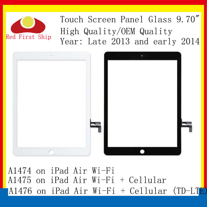 10Pcs/lot For Ipad Air Touch Screen Digitizer Touch Panel Glass Lens For IPAD air A1474 <font><b>A1475</b></font> <font><b>LCD</b></font> Front Outer Replacement image