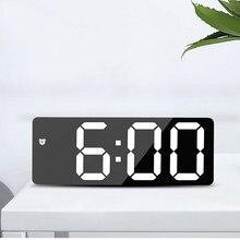 LED miroir écran réveil créatif horloge numérique commande vocale Snooze heure Date température affichage Rectangle/rond Style
