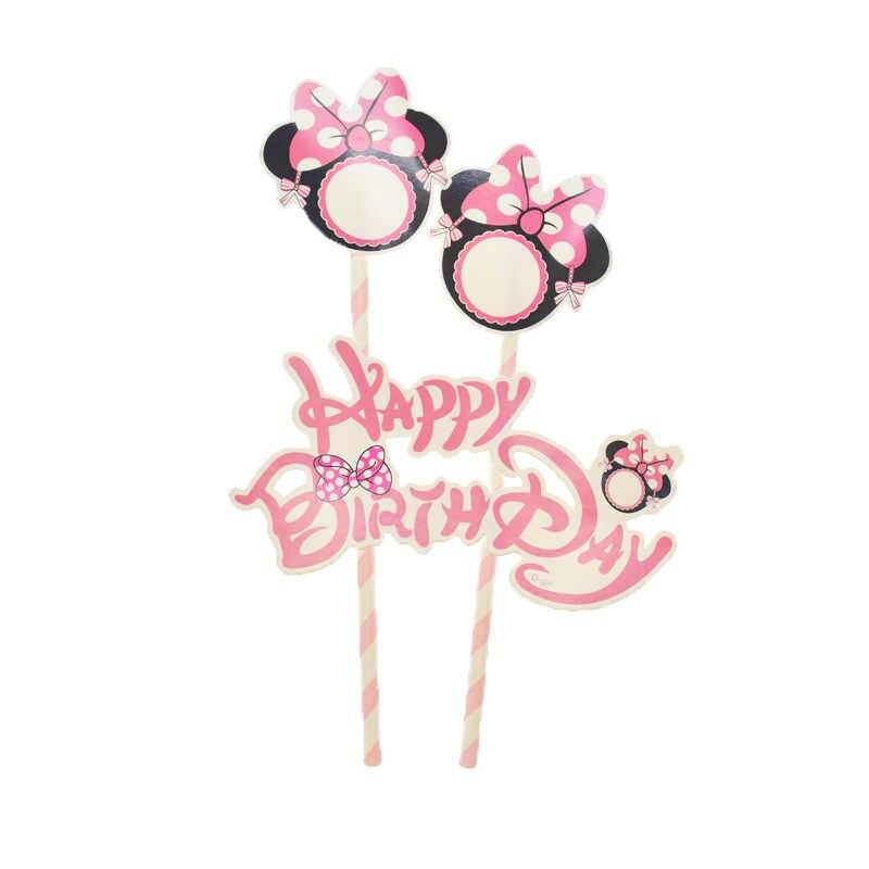 Minnie Mouse Wegwerp Servies Borden Cups Banners Ballonnen Bruiloft Decoratie Baby Shower Meisje Verjaardagsfeestje Gunsten