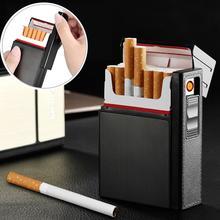 Карманный чехол для сигарет, коробка с Беспламенной электронной зажигалкой, ветрозащитные зажигалки, 20 шт., держатель для сигарет, контейнер