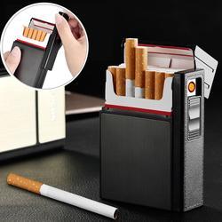 Boîte à cigarettes de poche 2-en-1 avec briquet électronique sans flamme