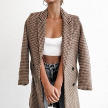 Women's Check Long Sleeve Jacket Causual Vintage Coat Plaid Blazer Long Plaid Top Women Office Wear Clothing LF190W0935 check plaid button front crop top