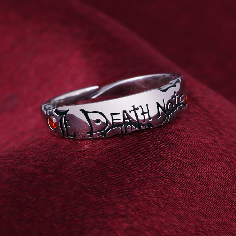Anime Ring Death Note Yagami Light S925 Sterling Zircon Finger Ring Adjustable Jewelry Cos Prop Christmas Gift Jewellery