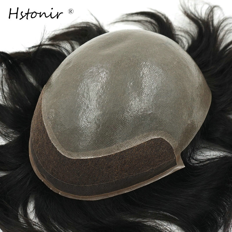 Hstonir Wig For Man Indian Remy Hair Mens Wig Human Hair Indian Wigs Swiss Lace In Front H091