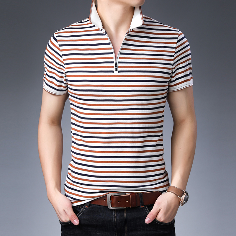Hot selling mens zipper   polo   shirt fashion design contrast colors striped cotton   polo   shirts for man short sleeve clothing