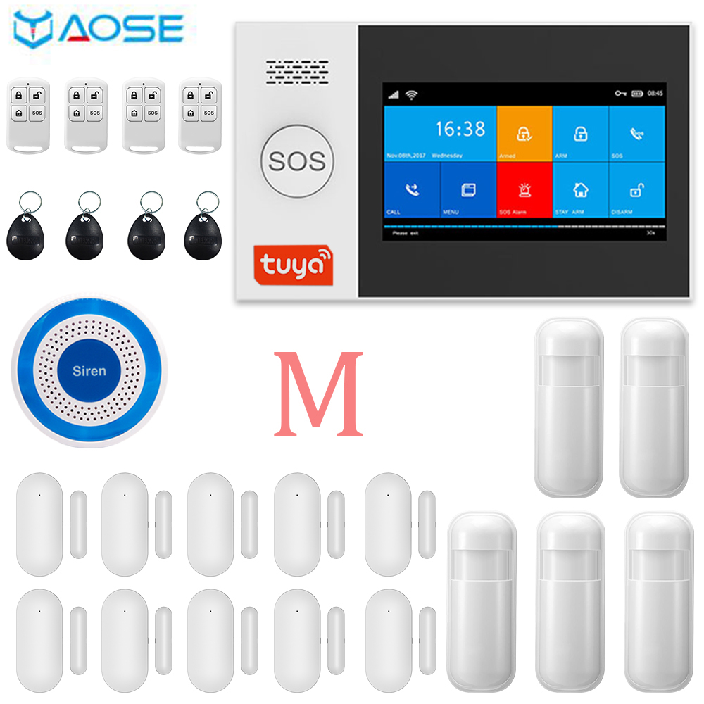 YAOSE TUYA WIFI amp GSM 4 3 Inch Full Touch Smart Home Alarm Security System With Wireless Indoor Mini Siren