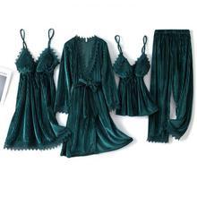 Green Velvet 4PCS Pajamas Suit Intimate Lingerie Women Casual Sleep Set Homewear 2021 Autumn New Sleepwear Home Clothing