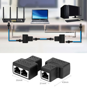 1 to 2 Way LAN Ethernet Network Cable Splitter Adapter RJ45 Female Splitter Socket Connector Adapter For Laptop