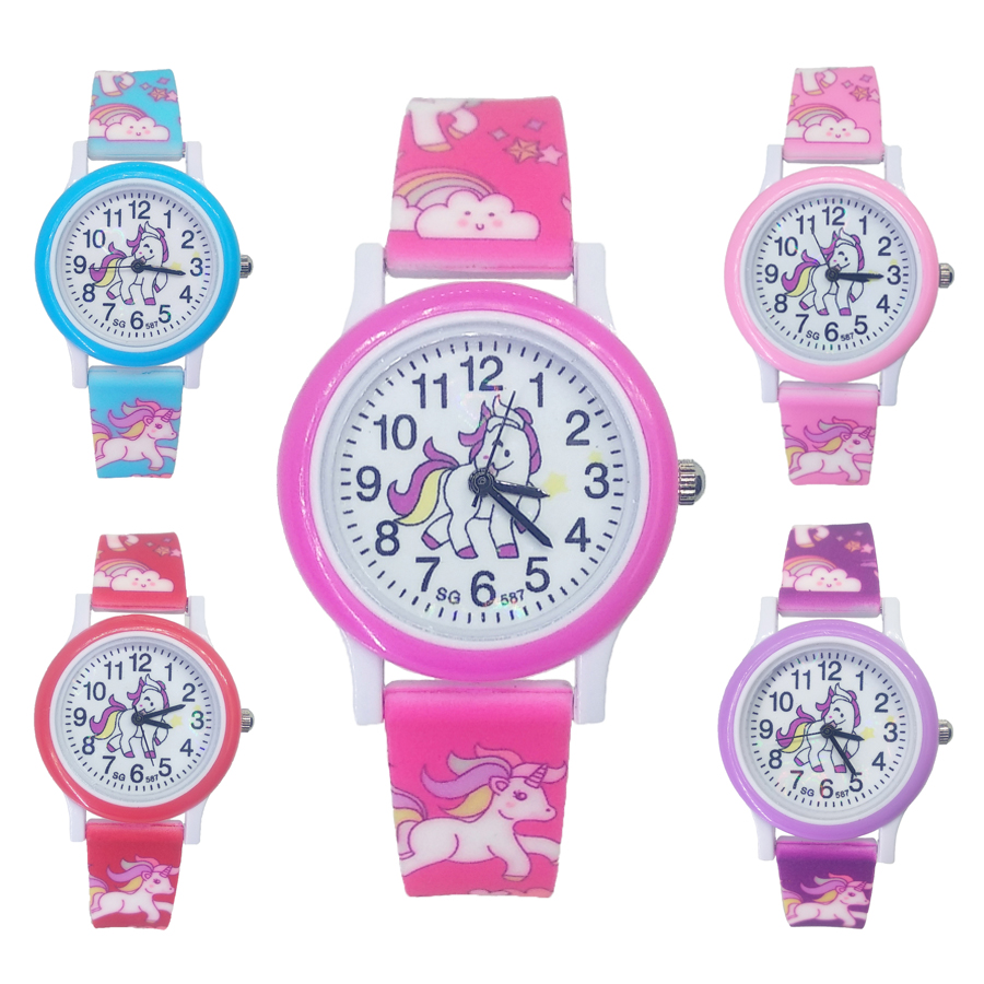 Pony Kids Watches Can Bend Strap Unicorn Children Watch Sports Quartz Wristwatch Boys Girls Clock Montre Enfant Reloj Kol Saati