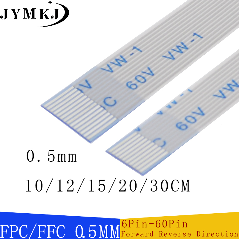 10PCS <font><b>FPC</b></font>/FFC Ribbon Flexible Flat <font><b>Cable</b></font> 6 <font><b>8</b></font> 10 12 14 16 18 20 22 24 26 28 30 32 <font><b>Pin</b></font> 0.5MM Pitch With Forward Reverse Direction image