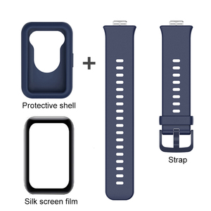 Image 4 - 3in1 full cover protect shell for huawei watch fit strap+fiberglass soft silicone back coque for hauwei watchfit shockproof case