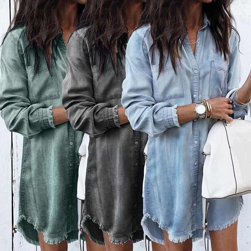 2019 レディースロングスリーブルーズデニムシャツドレスファッション夏カジュアル女性ミニドレスターンダウン襟シャツ女性ショートドレス