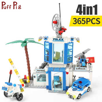 365pcs 4 In 1 Police Station Motorbike Car Helicopter Model Building Blocks City Bricks Educational Toys for Children - DISCOUNT ITEM  30 OFF Toys & Hobbies
