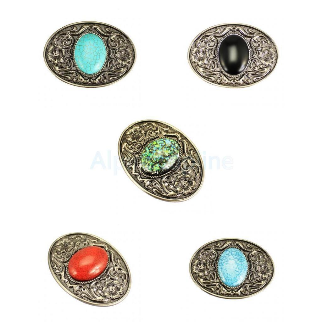 5PCS Bohemian Style Western Cowboy Belt Buckle Men Women Copper Buckle Tang Grass Grain Inlaid Jade Brass Plate Buckle Ancient