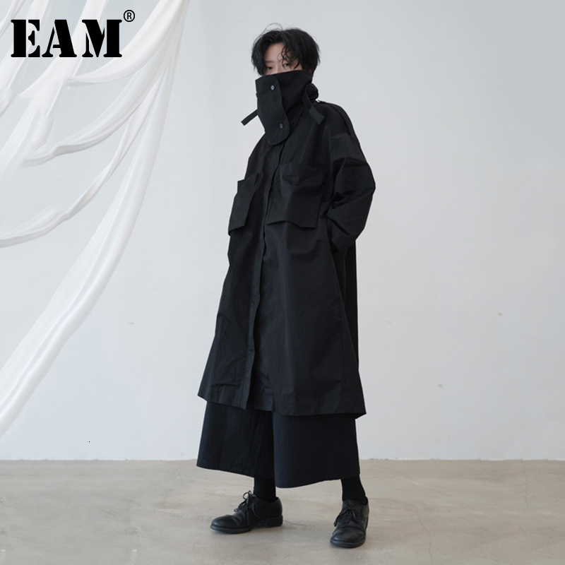 [EAM] Women Black Oversized Pocket Trench New Turtleneck Long Sleeve Loose Fit Windbreaker Fashion Tide Spring Autumn 2020 1B656