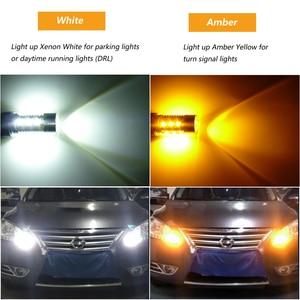 Image 5 - Bombilla LED de doble Color ámbar/blanco para coche, luz de freno, señal de giro de estacionamiento automático, Bombilla trasera T25 12v 24v, 2x3157 3757