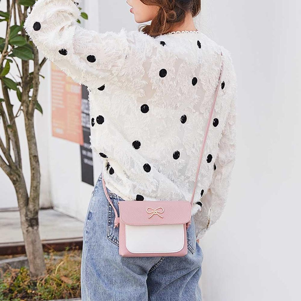 Bag For Women 2019 Bow Crossbody Bags Small Square Bag Winter New Fashion Wild Handbag Retro Simple Shoulder Messenger Bag #2N01