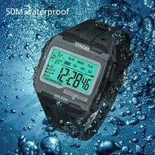Reloj Digital de silicona para hombre, pulsera militar deportiva de gran tamaño, cuadrado, con retroiluminación de plomo, resistente al agua hasta 50M, 2021