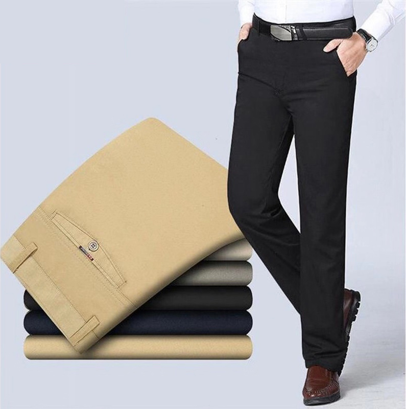Spring Autumn Middle aged Casual Trousers Men's Straight Slacks High Waists Dad's Thin Thick Breathable Cotton Male Suit Pants