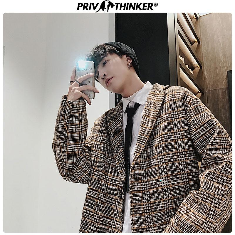Privathinker Plaid Casual Korean Woolen Coat Mens Short 2019 Autumn Winter Streetwear Men Jacket Oversize Fashion Coats