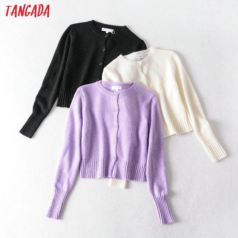 Tangada 2020 Women Spring Purple Cardigan Vintage Jumper Lady Fashion Slim Knitted Cardigan Coat 1A03