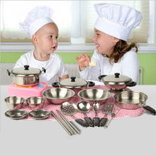 20pcs/set Kitchen Pretend Play Outfits Stainless Steel Cookware Pots Pans Miniature Play House Toys For Children Juguetes New(China)