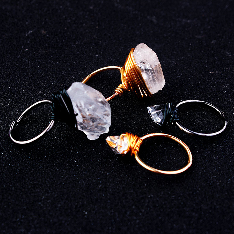 Fashion Quartz Natural Irregular <font><b>Rings</b></font> for Women Winding <font><b>Raw</b></font> Black Gold <font><b>Ring</b></font> Adjustbale <font><b>Ring</b></font> Clear <font><b>Crystal</b></font> Jewelry bague femme image