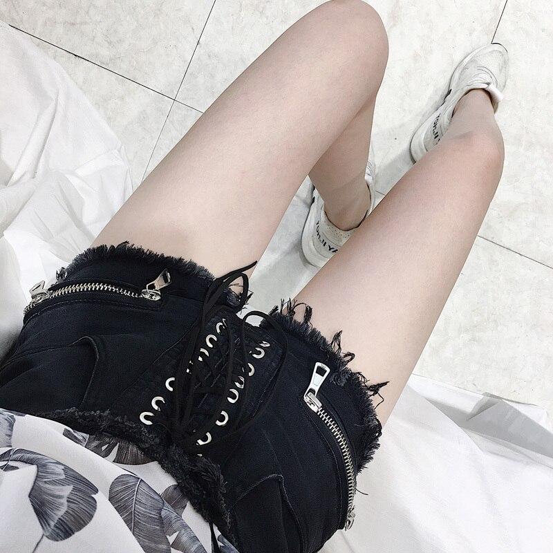 Summer Women Denim Shorts New Hole Short Feminino Slim Sexy Bandage Jeans Shorts Female Zipper Black Short Pants LX1720