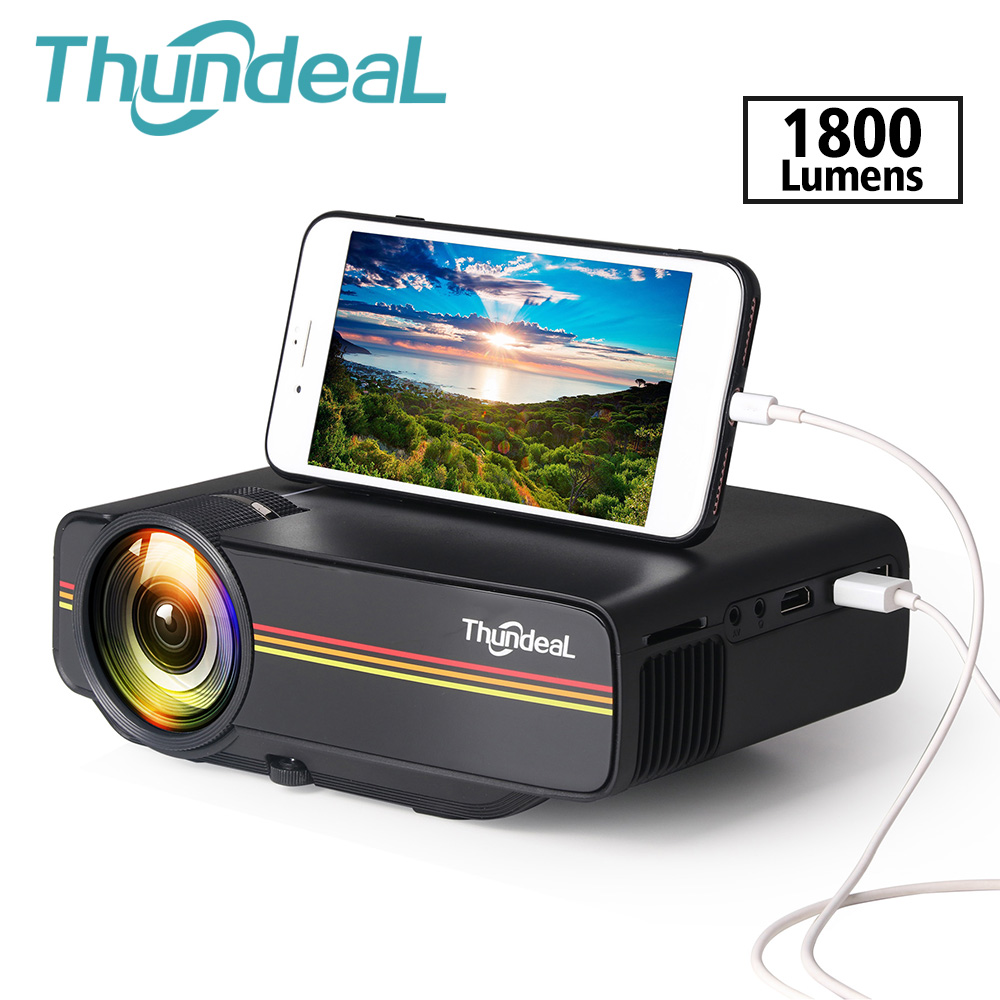 Thundeal Mini Projector Wired-Sync-Display Movie Yg400-Up Wifi Lumen HDMI 1800 Stable title=