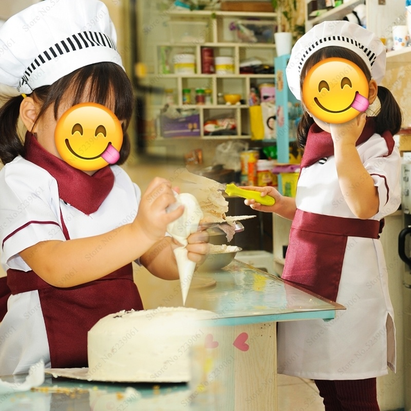 Halloween Kids Chef Jackets Catering Baking Uniforms Food Service Children Kitchen Restaurant Waiter Cook Hat Role Play Costumes
