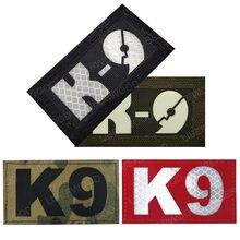 K9 militar multicam infravermelho ir remendo reflexivo K-9 cão brilho no escuro tactical hook loop apliques distintivo para colete mochila