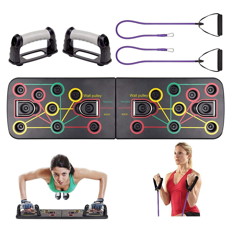 13-in-1Push-up Board Portable Bracket Board Fitness Exercise Tool Push-up Stand With 2 Resistance Band Multifunctional 2x Handle