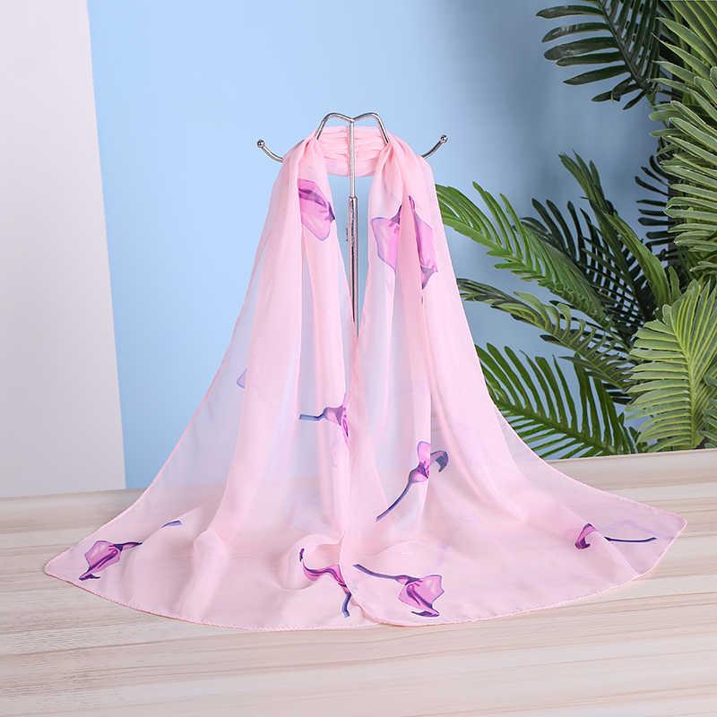 العلامة التجارية الجديدة وشاح شيفون المرأة الربيع الصيف الحرير والأوشحة رقيقة زهرة شالات و يلتف فولارد طباعة الحجاب الشالات بالجملة