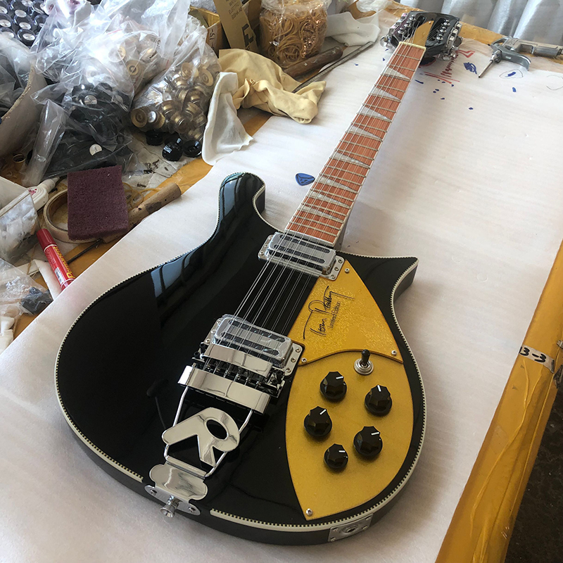 High quality 12 String Electric Guitar,Ricken 660 Electric Guitar,Black paint body with 'R'Tailpiece,Golden guard,free shipping
