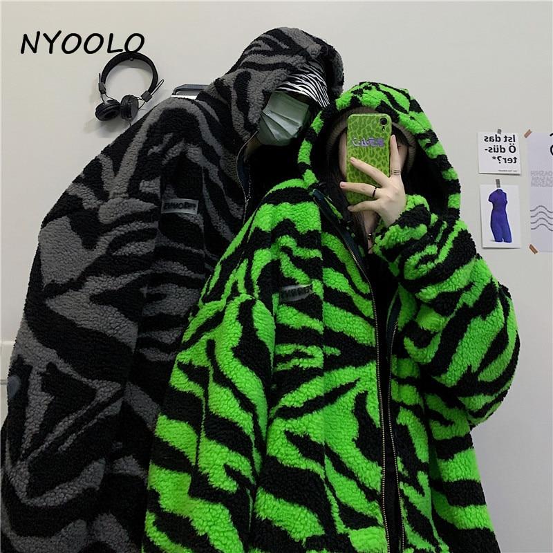 NYOOLO 2020 Winter Streetwear Zebra Pattern Lamb Woolen Thicken Warm Zipper Hooded Padded Coats Women Men Harajuku Loose Outwear