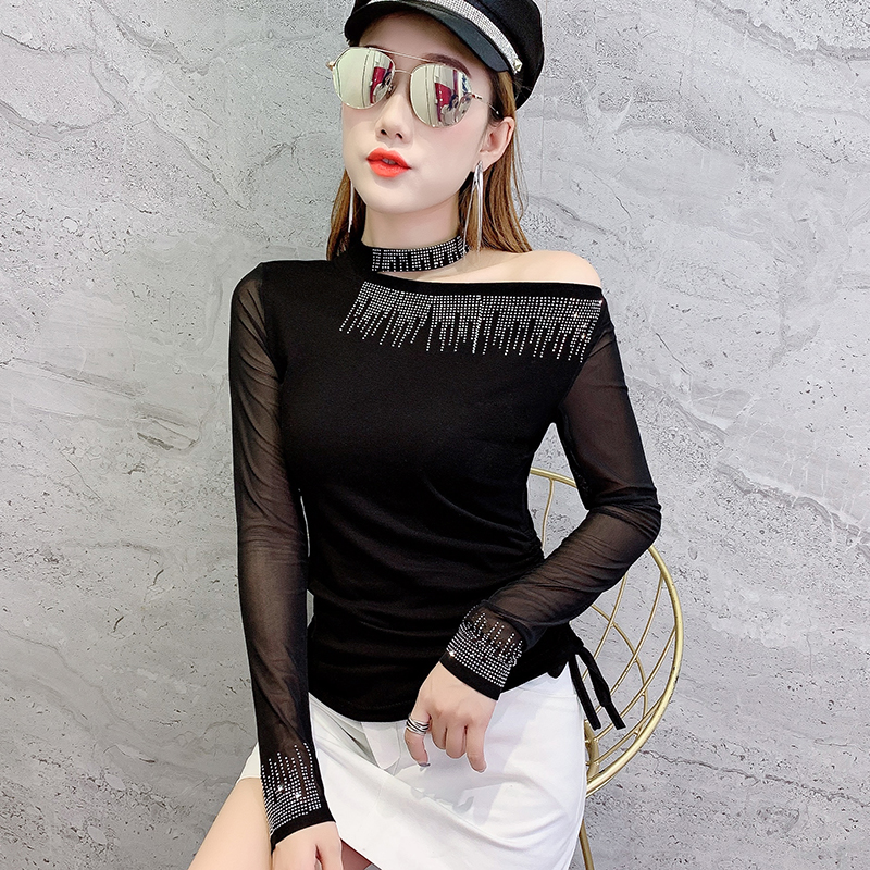 Black T-shirt Mesh Patchwork Diamonds Halter Off-shoulder Autumn Shirt Tops Knitted Stretchy Long Sleeve Camiseta Mujer T98494