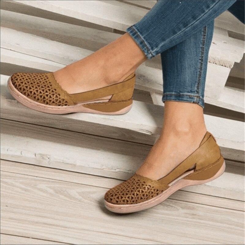 Летние женские ортопедические сандалии на танкетке; Женская офисная обувь; Винтажная обувь с перфорацией; Повседневные женские сандалии без шнуровки Боссоножки и сандалии      АлиЭкспресс