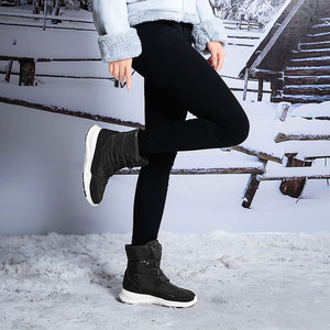 Image 2 - Skrevds النساء أحذية الثلوج الشتاء الأحذية الدافئة سميكة أسفل منصة مقاوم للماء حذاء من الجلد للنساء سميكة الفراء أحذية قطنية حجم