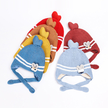 Cartoon Winter Warm Knitted Baby Hat Bunny Ear Toddler Girl Boy Hats Infant Cap Cute Pompom Lace-up Newborn Photography Props