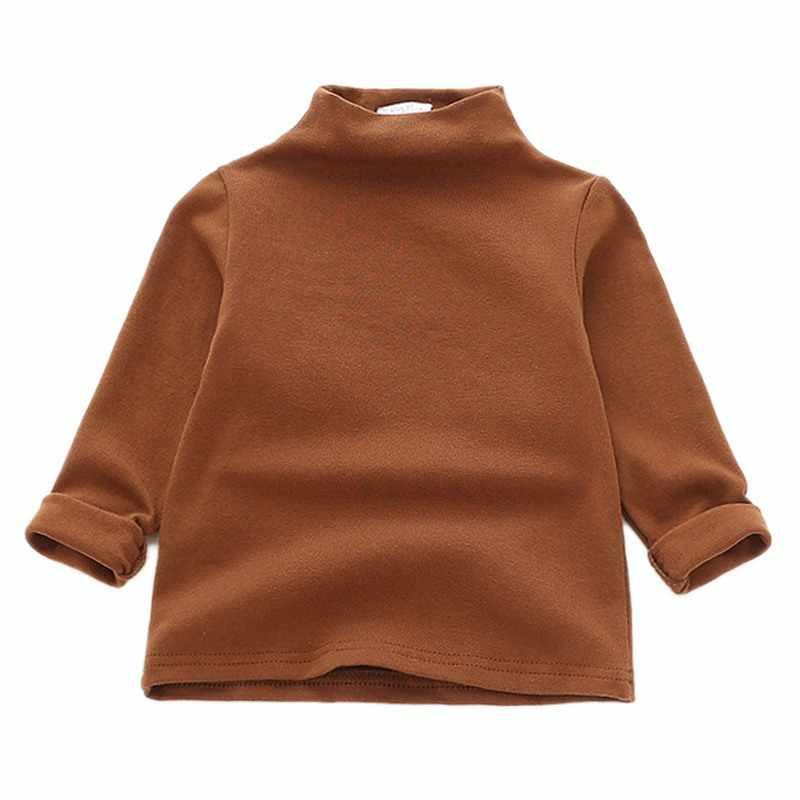 От 1 до 5 лет, теплая детская модная повседневная одежда для девочек, однотонная водолазка с длинными рукавами, хлопковый джемпер