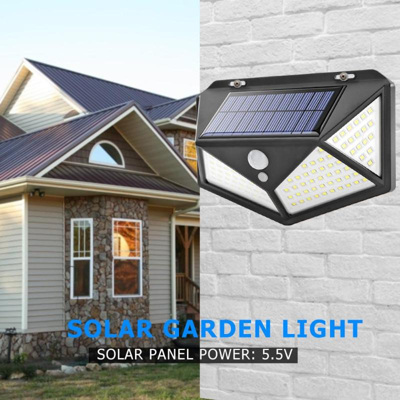100 LED Solar Lamp Energy Saving Waterproof PIR Motion Sensor Outdoor Wall Light Street Yard Path Home Garden Security Light