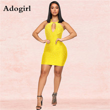 Adogirl Women Hot Drillling Rhinestones Halter Cut Out Back Lace Up Bodycon Midi Dress Sexy Sleeveless Club Night Vestidos