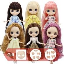 Fábrica gelada blyth boneca corpo comum com mãos rosto brilhante com peito grande cor do cabelo diferente pele branca 30cm 1/6 bjd brinquedo presente