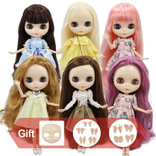 ICY DBS Blyth doll Joint body with hands Glossy face with big breast different hair color white skin 30cm 1/6 BJD toy gift