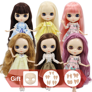ICY factory Blyth doll Joint body with hands Glossy face with big breast different hair color white skin 30cm 1/6 BJD toy gift(China)