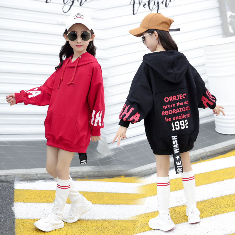 2019 Spring And Autumn Childrenswear New Style Girls Korean-style Back Lettered Hoodie Big Boy Mid-length Men's Sweatshirts & Ho
